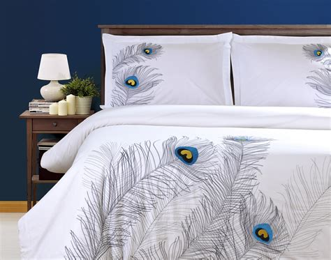 feather design duvet cover duvet cover set with pillow shams embroidered feather