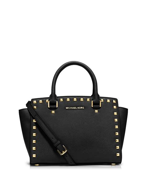 michael michael kors selma stud medium satchel in pink lyst