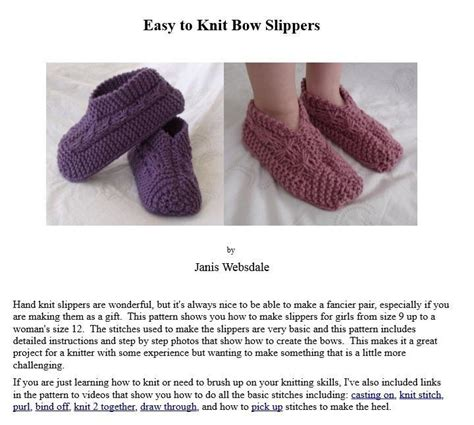 easy things to knit for easy to knit bow slippers knitting and crochet patterns
