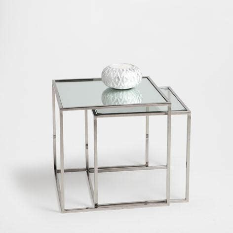 Zara Home Side Table Cubed Silver Glass Nest Of Tables
