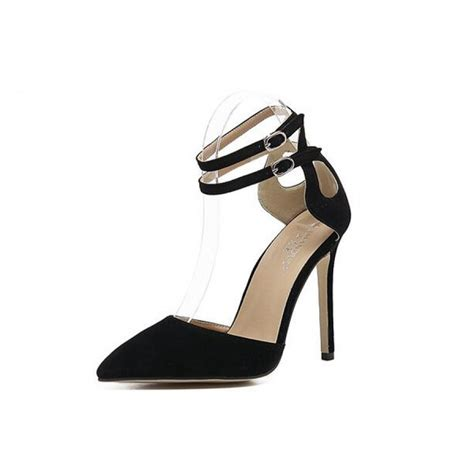 Ankle Pointed Heel Sandals black suede pointed toe stiletto heel ankle heels