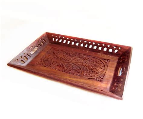 Handmade Trays - vintage handmade indian carved wood tray