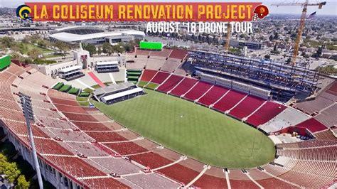 rams usc la coliseum renovation august  drone