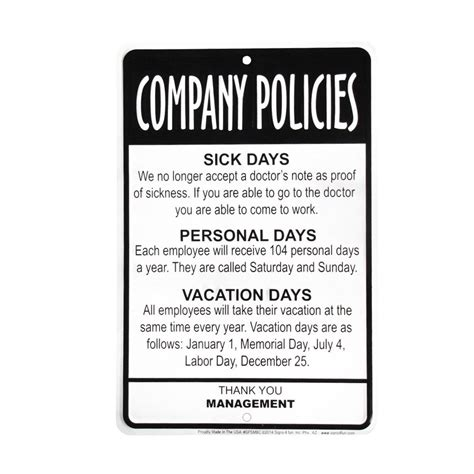 office desk signs funny management employees company policies sign funny work