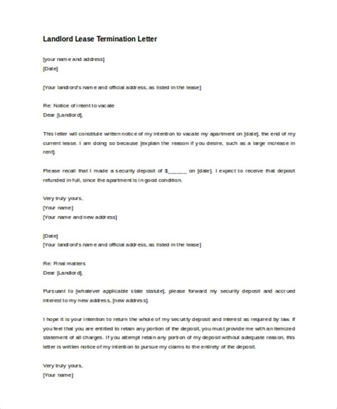 Sle Lease Termination Letter 8 Free Documents In Doc Pdf Landlord Lease Template