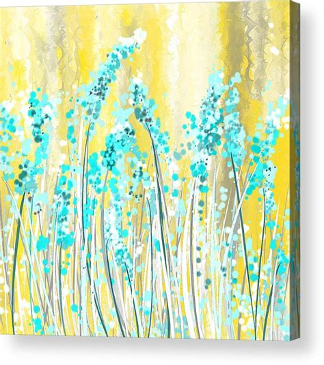 yellow and turquoise garden painting by lourry legarde turquoise and yellow acrylic print by lourry legarde