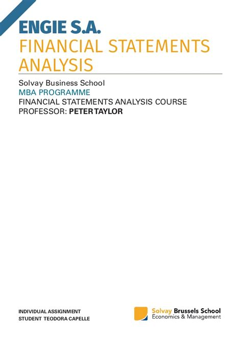 Mba 520 Financial Statement Analysis by Capelle Fsa