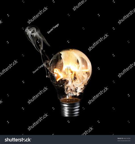 Burning Light Burning Light Bulb White Smoke Inside Stock Photo 46414258