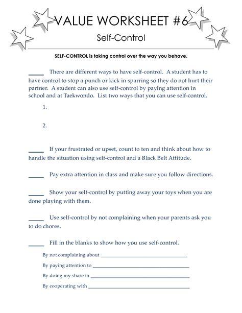 self control worksheets self esteem worksheets for kids free printable