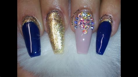 imagenes de uñas decoradas azules u 241 as acrilicas azules con dorado youtube
