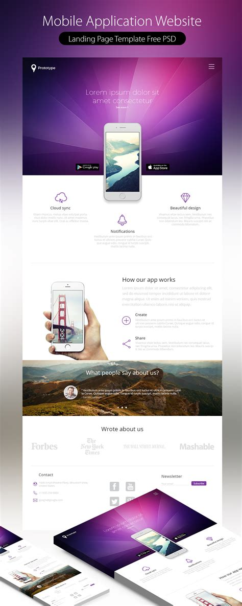 mobile landing page templates mobile application landing page template free psd