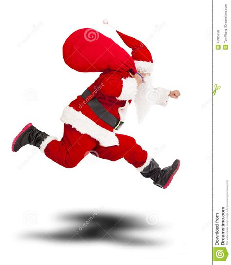 merry christmas santa claus holding gift bag and running
