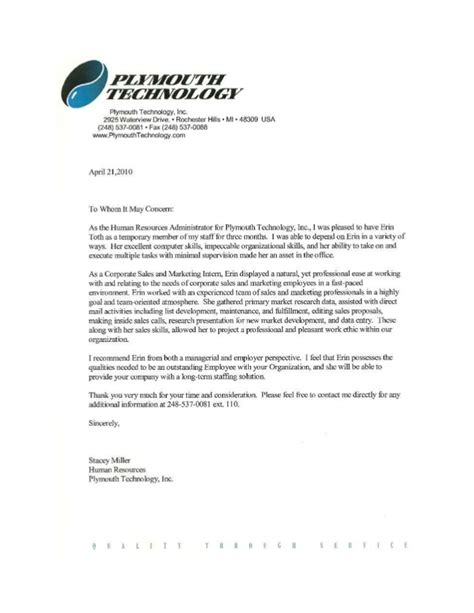 Recommendation Letter For Technology Letter Of Recommendation Plymouth Technology