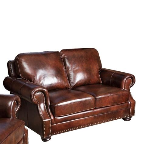 leather 3 piece sofa set abbyson karington 3 piece leather sofa set in brown sk
