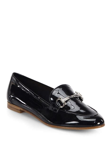 patent leather loafer ferragamo my informal patent leather loafers in black lyst