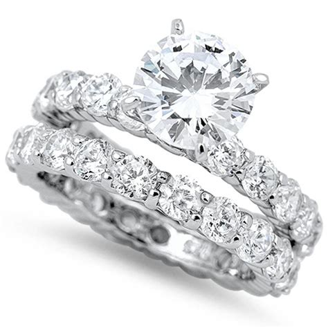 3ct russian cz eternity engagement ring wedding set