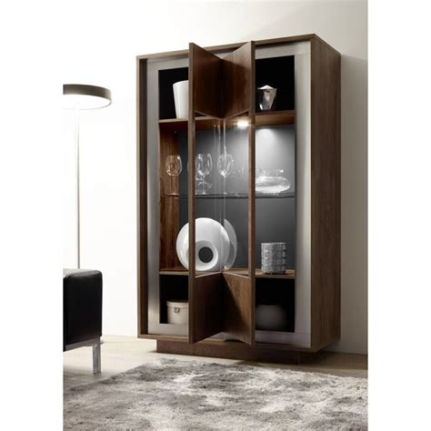 amber modern display cabinet  oak cognac finish