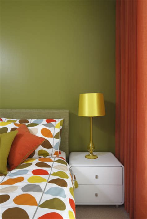 Orange And Green Bedroom | retro green and orange bedroom modern bedroom london