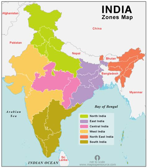 free india zones outline map map of india zones outline