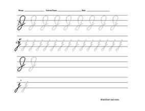 free printable cursive letter j worksheet