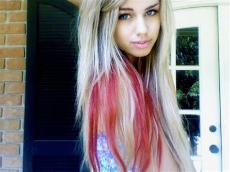 blonde hair with streaks red underneath blonde hair colors blonde bleach and red hair colors ideas