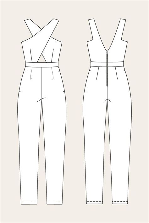 pattern drafting jumpsuit line drawing for the ailakki cross front jumpsuit by named