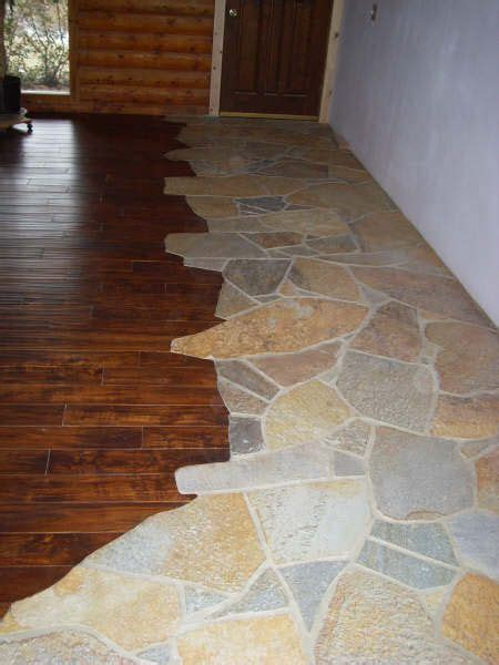 stone to wood flooring transition house building project