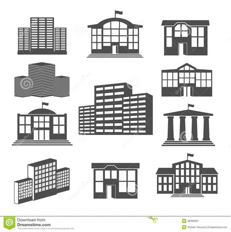 2d building house icon set business buildings stock vector image