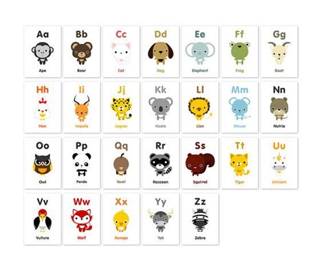printable animal flashcards for toddlers animal alphabet flash cards printable pdf print