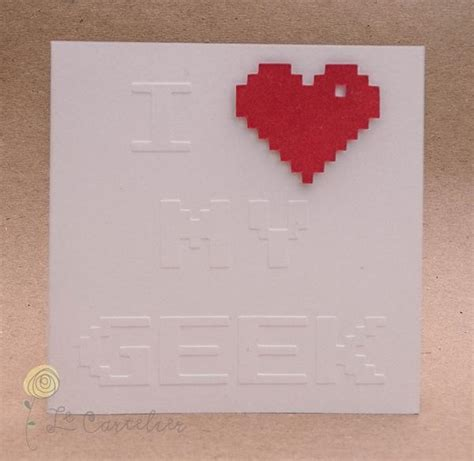 Embossed Gift Enclosure Cards - i heart my geek 8 bit embossed greeting card gadgetsin