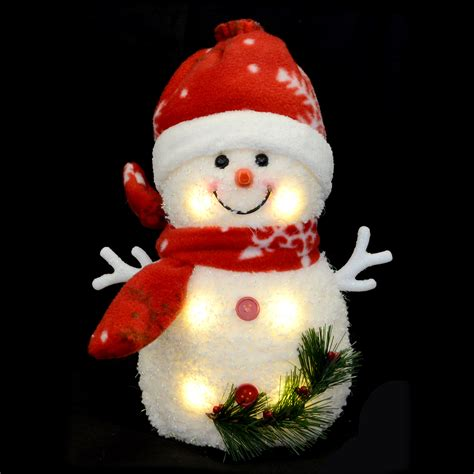 20cm light up snowman with red snowflake hat scarf