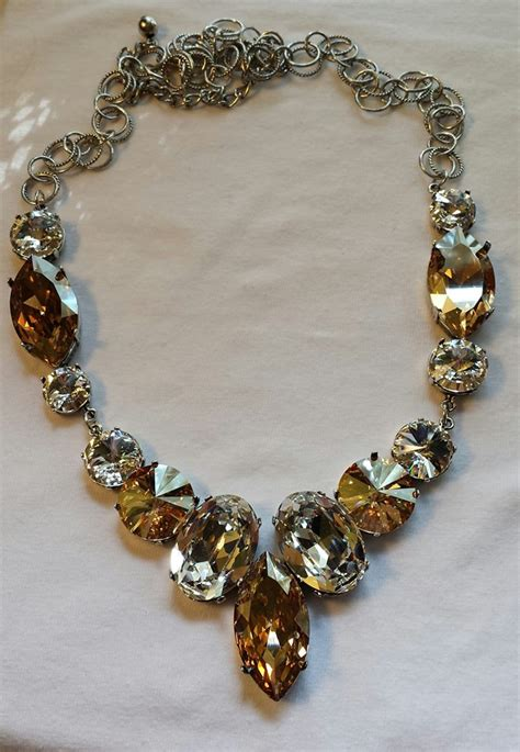 Handmade Statement Necklaces - swarovski large statement necklace elizabeth