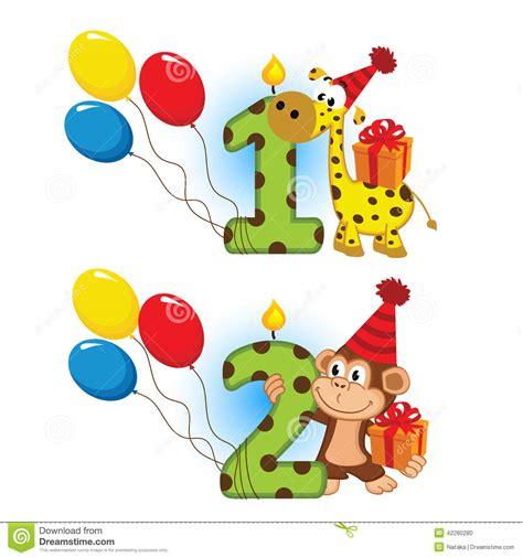 Gamis Tsum2 Kid second birthday with animal stock illustration