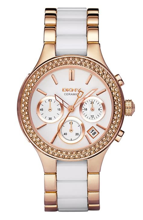 Dkny Dk033 Pink Rosegold dkny medium ceramic stainless steel bezel in pink gold white lyst
