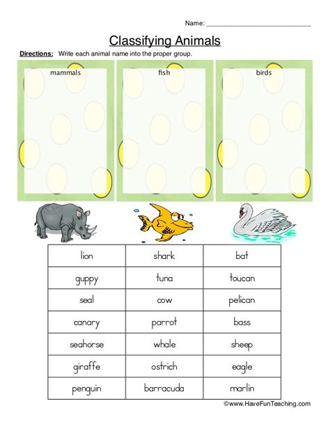 Animal Classification Worksheet by Classifying Animals Worksheet