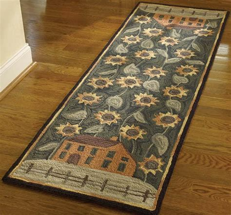 the house of rugs house and sunflowers hooked rug runner