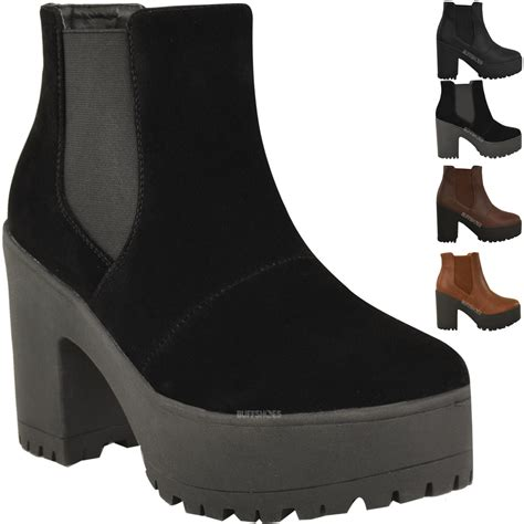 womens chelsea ankle boots chunky platforms block