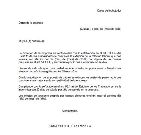 ejemplo carta de despido laboral ejemplo de carta de despido objetivo carta de despido