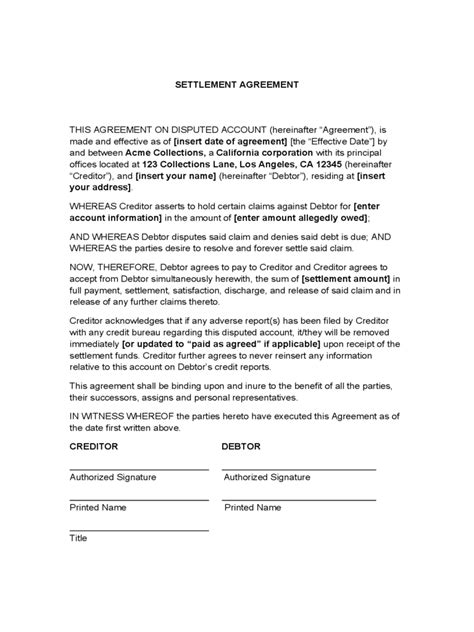 settlement agreement template debt settlement agreement form 3 free templates in pdf