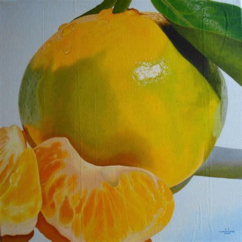 cuadros mandarina home obra minimalista de una mandarina oleo sobre lienzo 70x70
