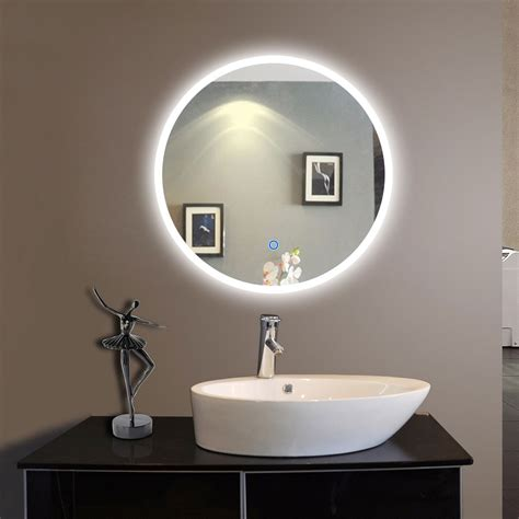 round led bathroom mirror 24 x 24 in round led bathroom silvered mirror with touch