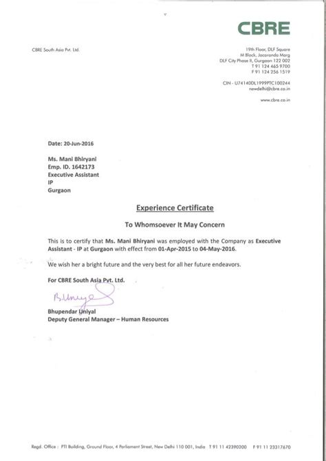 experience letter sample work experience letter cbre format certificate format