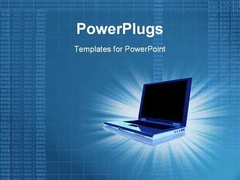 powerpoint templates computer powerpoint template 3d laptop computer with lines of