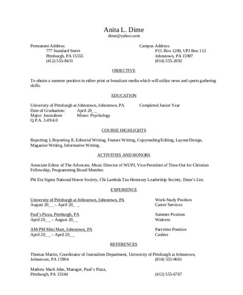 Resume Objective For School Sle High School Student Resume 8 Exles In Word Pdf