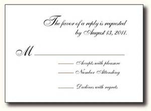 formal wedding reception card wording rsvp card wording