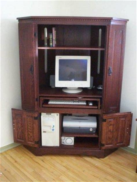 Corner Computer Cabinet by Computer Desks Hutches Armoires Computer Corner Cabinet