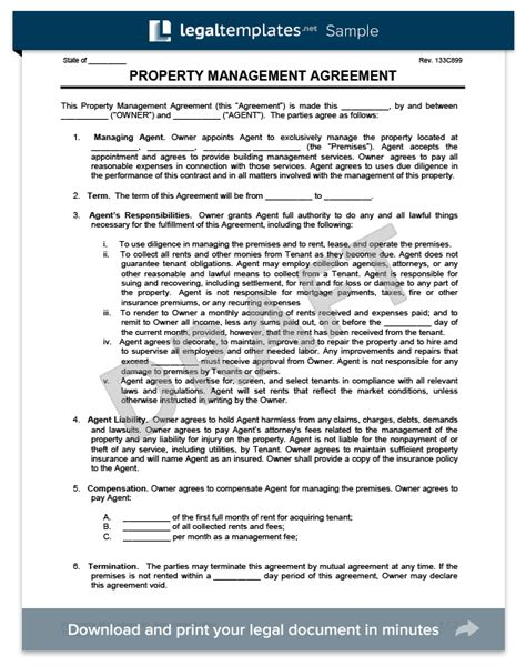 Property Management Agreement Create Download A Free Contract Property Management Template