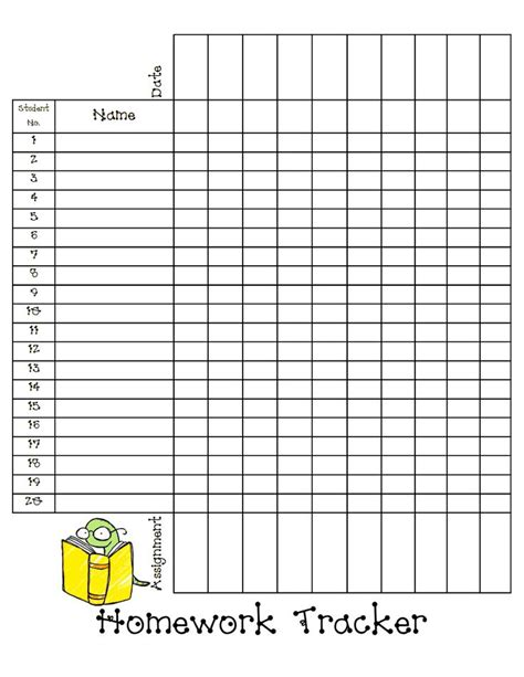 homework tracker sheet blog pdf back to school