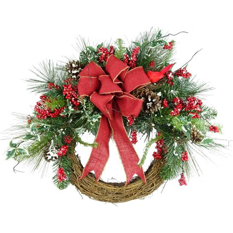 24 quot canadian pine artificial christmas wreath unlit