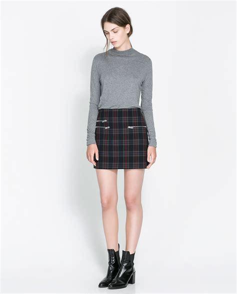 Zara Skirt zara checked mini skirt in blue lyst